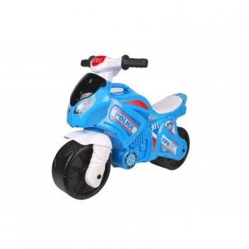 Т6467 каталка-мотоцикл беговел полиция 911 цвет бело-синий