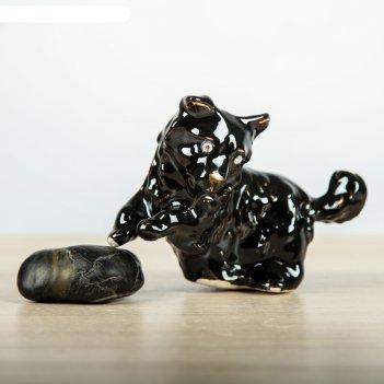 Статуэтка собака на траве глянец чёрный