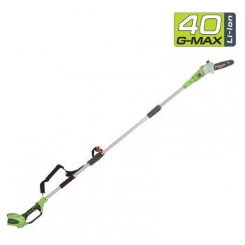 Высоторез – cучкорез аккумуляторный 20 см greenworks 40v g40ps20, садовая