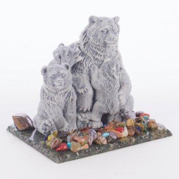 Сувенир медведица с медвежатами змеевик мрамолит самоцветы 100