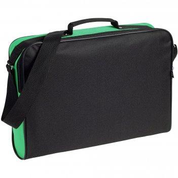 Сумка для документов unit metier, черная с зеленой отделкой