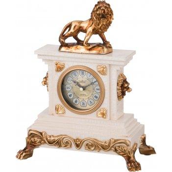 Часы настольные кварцевые лев цвет:белый с золотом 24,5*12,8*31,5 см. диам
