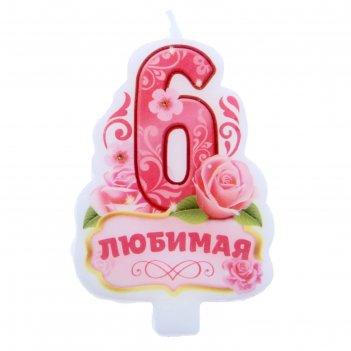 Свеча в торт цифра 6 любимая