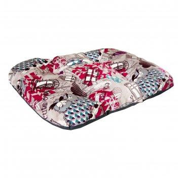 Матрас для собак средних пород филин красный, ткань канвас, 70 х 50 х 10 с