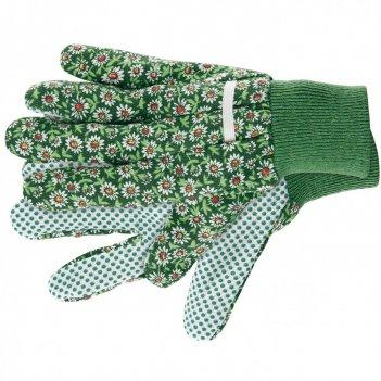 Перчатки садовые х/б ткань с пвх точкой, манжет, m palisad