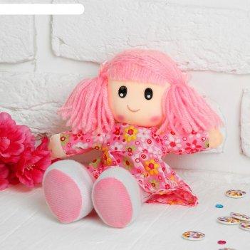 Мягкая игрушка кукла в ситцевом платье с хвостиками, цвет микс