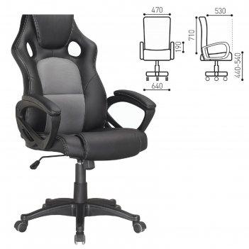Кресло офисное brabix rider plus ex-544, комфорт, экокожа, черное/серое