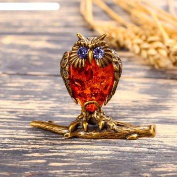 Сувенир из латуни и янтаря сова на ветке