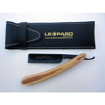 Опасная бритва leopard деревянная бежевая ручка, лезвие черное, 6,5 дюйма