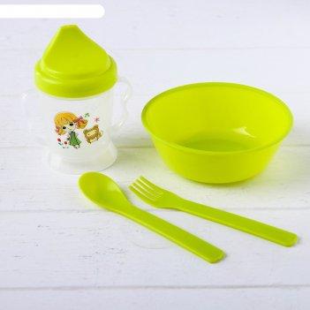 Набор детской посуды: миска, поильник, ложка, вилка, цвета микс