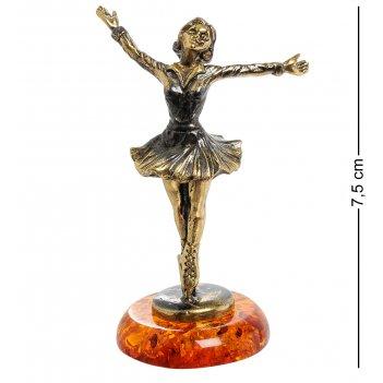 Am-1984 фигурка фигуристка (латунь, янтарь)
