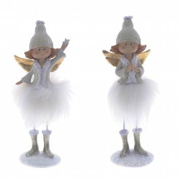 Фигурка декоративная ангелочек, l7 w4 h20 см, 2в.