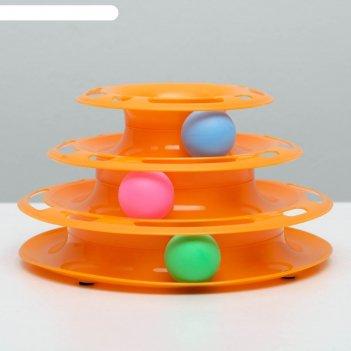 Игровой комплекс пижон для кошек с 3 шариками, 24,5 х 24,5 х 13 см, оранже