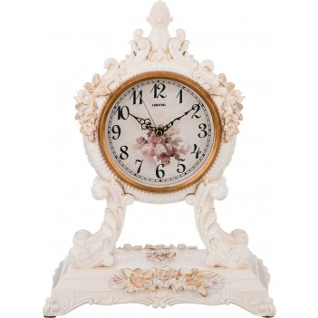 Часы настольные кварцевыес маятником белые цветы 27,5*16,5*37 см. диаметр