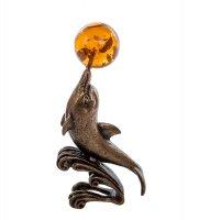 Am-266 фигурка дельфин с шаром (латунь, янтарь)