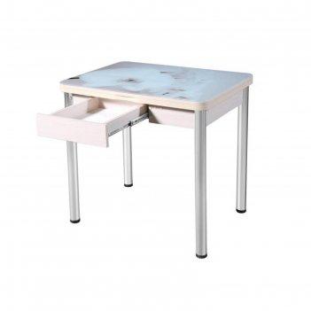 Стол «ника» поворотно-раскладной с ящиком, стекло, опоры d50, беленый дуб,