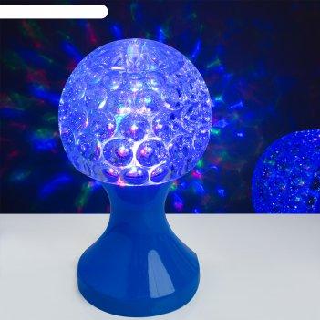 Световой прибор хрустальный шар кубок, диаметр 10 см, 220 в, синий