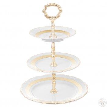 Этажерка (горка) три яруса thun мария луиза золотая лента ivory