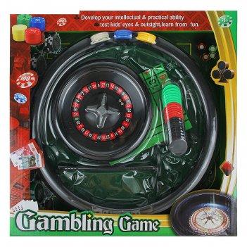 Игра рулетка в коробке d=15 см, 2 шарика,42 фишки d=25мм , 5 кубиков 1,3х1