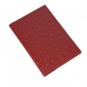 Обложка для автодокументов, размер 13,6 х 9,8 см, цвет алый кайман
