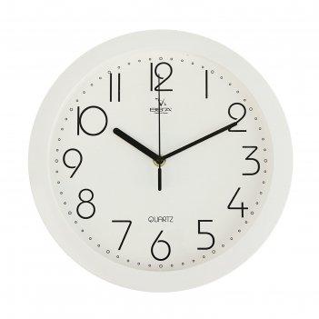 Часы настенные классические, круглые, белые