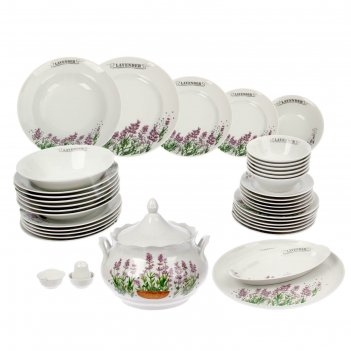 Сервиз столовый 37 предметов 4 вида тарелок ф.идиллия лаванда