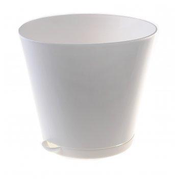 Горшок для цветов 3,6 л крит, d=20 см, система прикорневого полива, белый