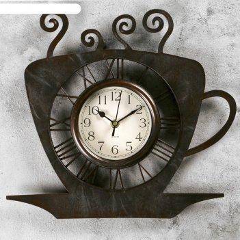 Часы настенные, серия: кухня, чашка кофейная, бронза с напылением, 31х33 с