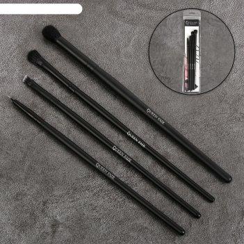 Набор кистей для макияжа, 4 предмета, цвет чёрный
