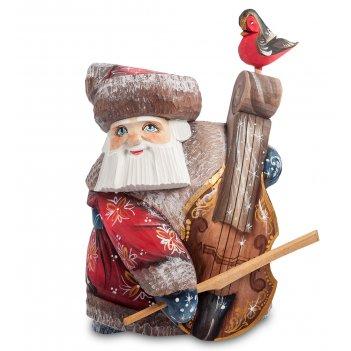 Фигурка дед мороз с контрабасом (резной) 16см
