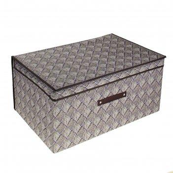 Короб для хранения с крышкой 50x40x30 см клетка, цвет серо-коричневый