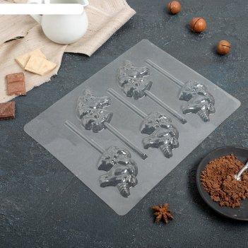 Форма для шоколада «единорог», 5 ячеек, 24x18,5x1 см