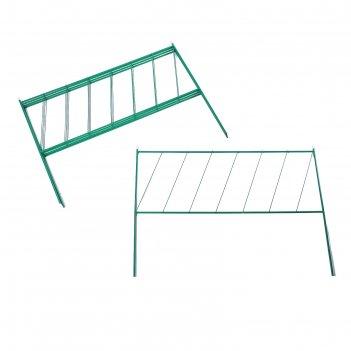 Ограждение декоративное, 53 x 500 см, 5 секций, металл, зелёное, «линия»