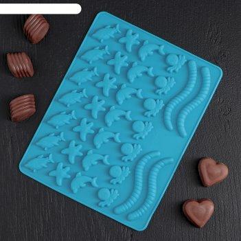 Форма для мармелада 32 ячейки 22,3x17,2x0,8 см морские сладости, цвета мик