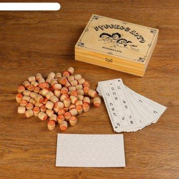 Игра русское лото в деревянной, в светлой  шкатулке тройка 25х19х6 см