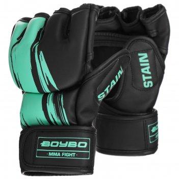 Перчатки для мма boybo stain, флекс, цвет голубой, размер l