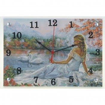 Часы настенные прямоугольные девушка и лебеди, 25х35 см