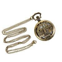 Часы карманные кварц на цепочке 80см, paris на крышке d=4,5см,h=5,8см