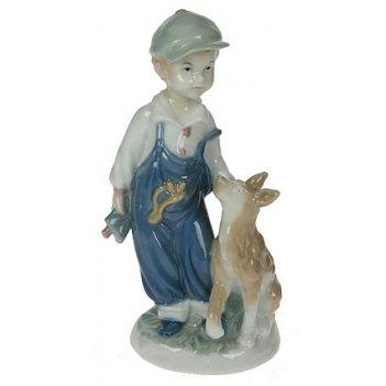 """Статуэтка """"мальчик с собакой"""", фарфор 12*8*20см"""