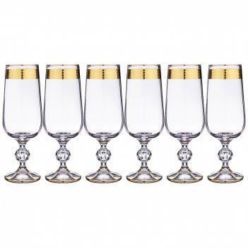 Набор фужеров для вина из 6 шт.allegro sterna/klaudia золото 280 мл