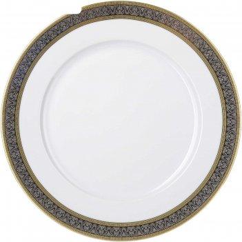 Блюдо круглое мелкое 30 см, opal, декор широкий кант платина, золото