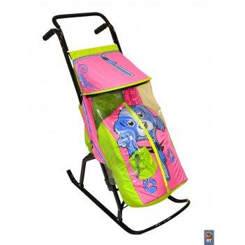 Санки-коляска снегурочка 2-р собачка салатовый-розовый