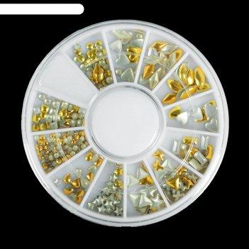 Заклёпки для декора «ассорти», 12 ячеек, цвет золотистый