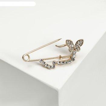 Булавка бабочка в полёте, 4 см, цвет белый в золоте