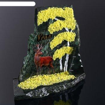 Сувенир-скол олень, змеевик, каменная крошка, большой