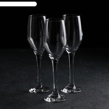 Набор бокалов для шампанского 3 шт «элла», 230 мл, 4,9x22 см