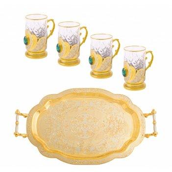 Набор чайный малахит (поднос, 4 подстаканика)
