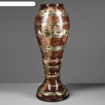 Ваза акирия орнамент, малахит, коричневый, 90 см