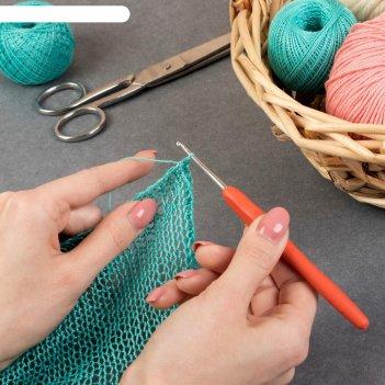 Крючок для вязания, с силиконовой ручкой, d = 3 мм, 14 см, цвет микс