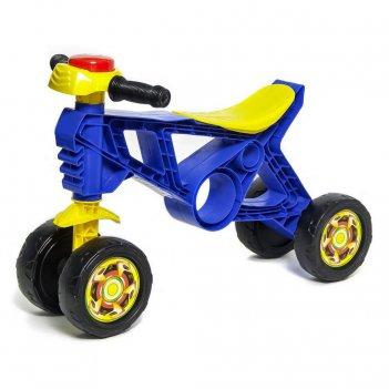 Ор188 каталка-беговел самоделкин 4 колеса с клаксоном синяя